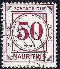 Mauritius SGD13 50c Wmk w12 Post Due Fine Used Cat 22 pounds