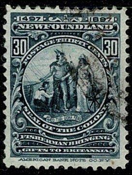 CANADA NEWFOUNDLAND 1897 QV 30c SLATE-BLUE VFU SG77 Wmk.none P.12 VGC