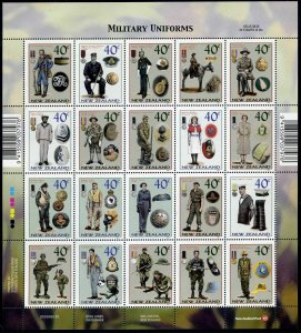 New Zealand 1860 sheet,MNH. Military Uniforms,Medals and Insignia,2003.