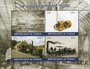 Chad 2018 Locomotive Trains Railways Transports 4v Mint Stamps Sheet S/S. (#108)