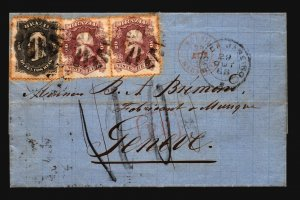Brazil 1868 Cover SC# 54 (x2) #59 to Switzerland  - Z19384