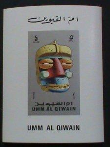 UMM AL QIWAIN AIR MAIL STAMP: AFRICAN MASK SERIES-5 DIRHAMS IMPERF:-MNH S/S. #5