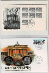 Germany 1989, The historic day, the GDR borders open , coin covers