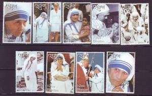 J20516 Jlstamps 1998 bhutan set mnh #1192a-h,1191a mother teresa