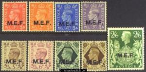 1943 British Occupied Middle East Forces 1d-2s6d M.E.F. Opts (9), SG M11-M19, MH