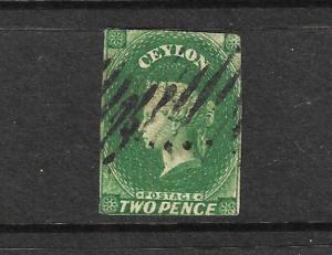 CEYLON 1857-59 2d GREEN QV IMPERF FU SG 3