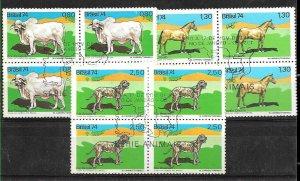 #1027 BRASIL BRAZIL1974 FAUNA FARM DOG,HORSE,COW BLOCx4 YV 1046-7 FIRST DAY CV90