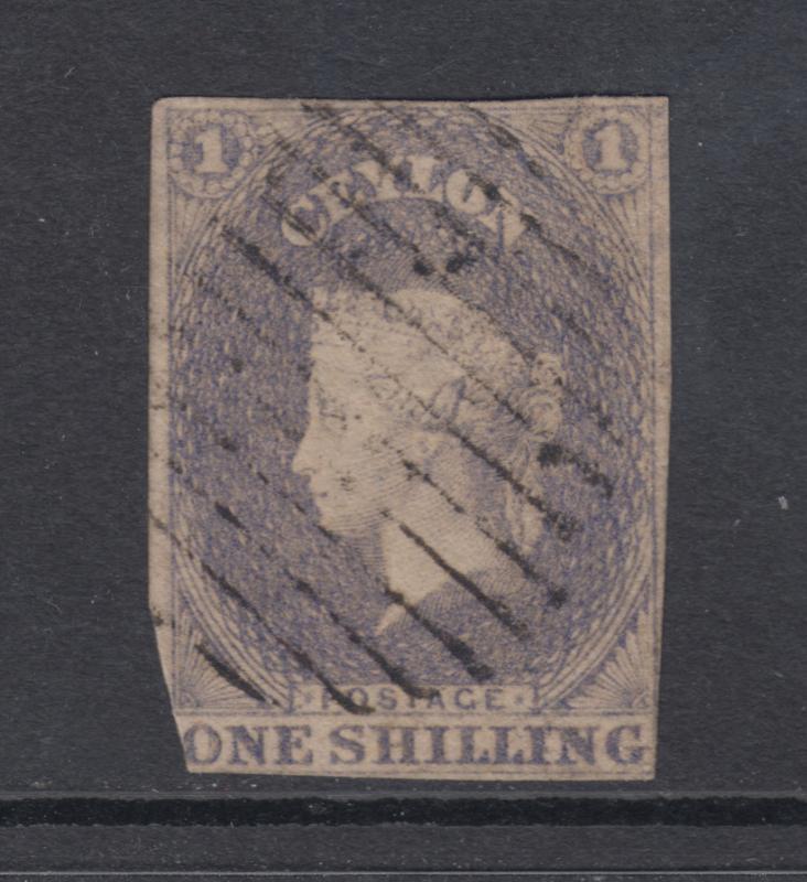 Ceylon Sc 11 used 1857 1sh violet imperf QV, clipped o/w sound & scarce