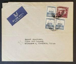 1945 Jerusalem Palestine to Milwaukee Wisconsin US Multi Franking Air Mail Cover