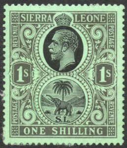 SIERRA LEONE-1925 1/- Black/Emerald Sg 143 MOUNTED MINT V42962
