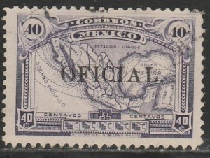 MEXICO O188, 40¢ OFFICIAL. Map of Mexico. Used. F-VF. (1342)