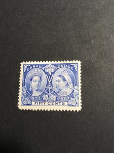 Canada #60 Mint VF-H USC C$500. 1897 50c Jublee O,G. Fresh & Well Centered