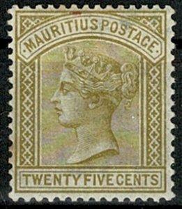 MAURITIUS QV 1883-94 25c OLIVE-YELLOW UNUSED (MH) SG110 Wmk.CROWN CA VGC