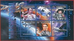 FRENCH GUINEA - ERROR, 2010 IMPERF SHEET: SPACE Tourism, CINEMA, Schwarzenegger