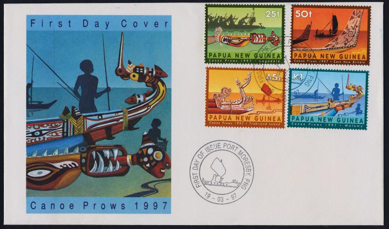 Papua New Guinea 912-5 on FDC - Crafts, Boat Prows
