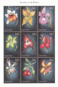 Lesotho # 1193 & 1195, Orchids of the World, Sheets of 9, NH, 1/2 Cat.