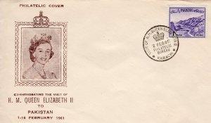 PAKISTAN 1961 VISIT OF H.M.QUEEN ELIZABETH II to PAKISTAN Special Postmark Cover