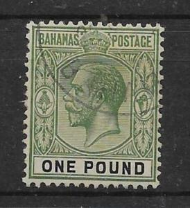 BAHAMAS SG125 1926 £1 GREEN & BLACK USED