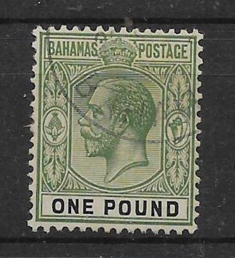 BAHAMAS SG125 1926 £1 GREEN & BLACK USED
