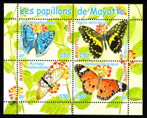 Mayotte MNH Scott #204 Souvenir sheet of 4 different 50c Butterflies