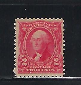 US #301 1902-03 WASHINGTON 2C (CARMINE)  MINT NEVER HINGED