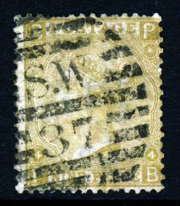 GB Queen Victoria 1867 9d. Deep Straw Watermark Spray SG 111 (Spec. J96[3]) VFU