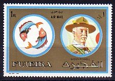 Fujeira, Mi cat, 1313 A. Scout Baden Powell value from set. ^