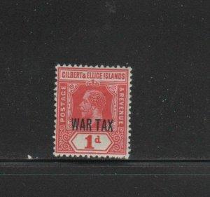 GILBERT & ELLICE #MR1  1918  WAR TAX      MINT  VF LH  O.G