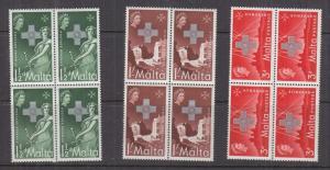 MALTA, 1957 George Cross set of 3, blocks of 4, mnh.