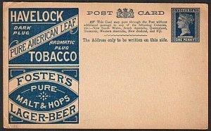 VICTORIA AUSTRALIA QV 1d postcard Tobacco & Foster's Beer unused...........76355