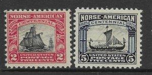 USA 620 - 621 - Norse America Set - Fine/Very Fine - MNH - CV$25.00