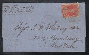 Nova Scotia 1863 10c Cover Steamer Via St John NB to New York USA
