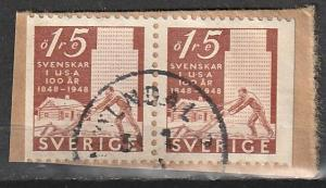 #403 Sweden Used pair on paper