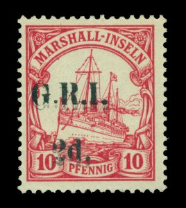 German Colonies - NEW BRITAIN G.R.I. Marshall Is 2d/10pf DOUBLE SURCHARGE Sc 32a