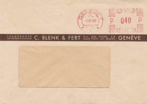 geneva switzerland 1950 machine cancel stamps cover  ref 10158