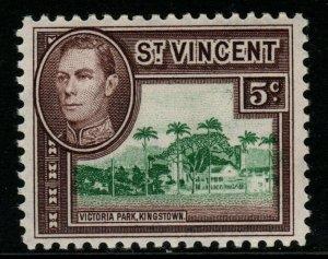 ST.VINCENT SG168 1949 5c GREEN & PURPLE-BROWN MTD MINT