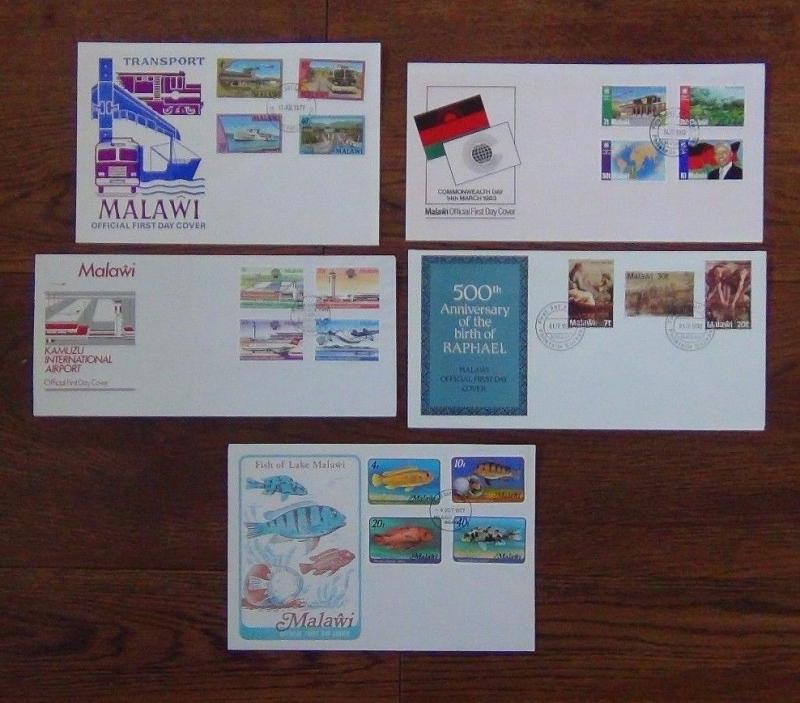 Malawi x 5 First Day Covers 1977-83 Commonwealth Tapestry Flight Fish Transport