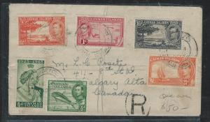 CAYMAN ISANDS (P1706B) 1949 KGVI 9 DIFF STAM FRANK REG TO CANADA