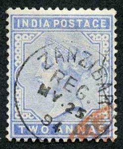 Zanzibar SGZ85 1882-90 India 2a Blue 25 May 94 with CDS (type Z6) Fine Used