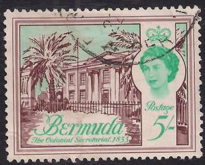 Bermuda 1962 - 68 QE2 5/-d Colonial Secretariat SG 177 ( F479 )