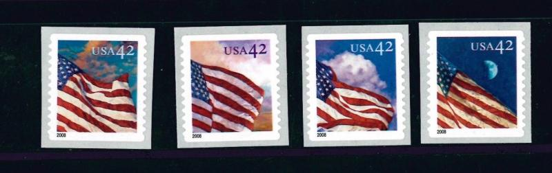 US Scott # 4244 - 4247 42c Flags 2008 Rounded Corners MNH set of 4 Singles MNH