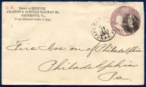 ATLANTIC & DANVILLE RAILROAD w/CAPE CHARLES & NORFOLK RPO: 1893 Cover; Sc. U349