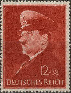 Stamp Germany Mi 772 Sc B190 1941 WWII Fascist Hitler War Birthday Military MH