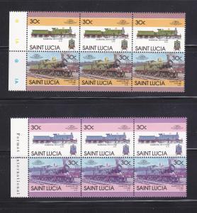 St Lucia 809 Color Error Strips MNH Trains, Locomotives (B)