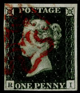 SG2, 1d black PLATE 1b, FINE USED. Cat £400. RED MX. 4 MARGINS. RI
