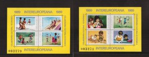 Romania   #3572-3573  MNH  1989  sheets children`s activities and games