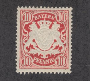 Bavaria Sc 63a MNH. 1888 10pf carmine red embossed Coat of Arms, F-VF
