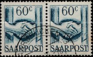 SARRE / SAARLAND - 1948 - pair 2xMi.240 60c cancelled SAARBRÜCKEN 3 - VFU