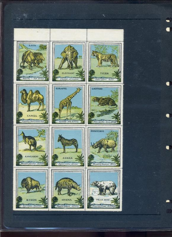 24 VINTAGE ANIMAL  POSTER STAMPS OFFERED AS RECEIVED (L756)