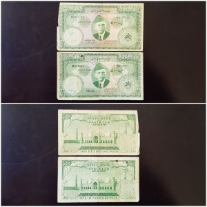 2 Banknotes 100 Rupees 1960 / 1967, Pakistan, P22, Different Governor Signature